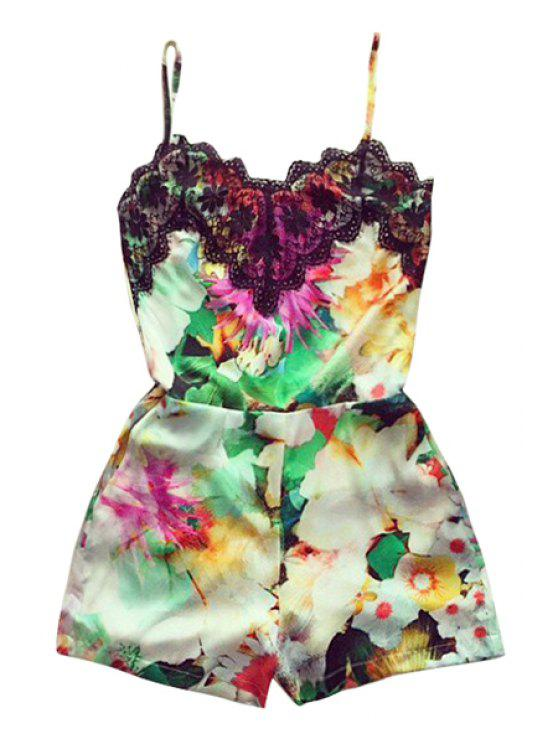 buy Lace Splicing Floral Print Sleeveless Romper - COLORMIX S