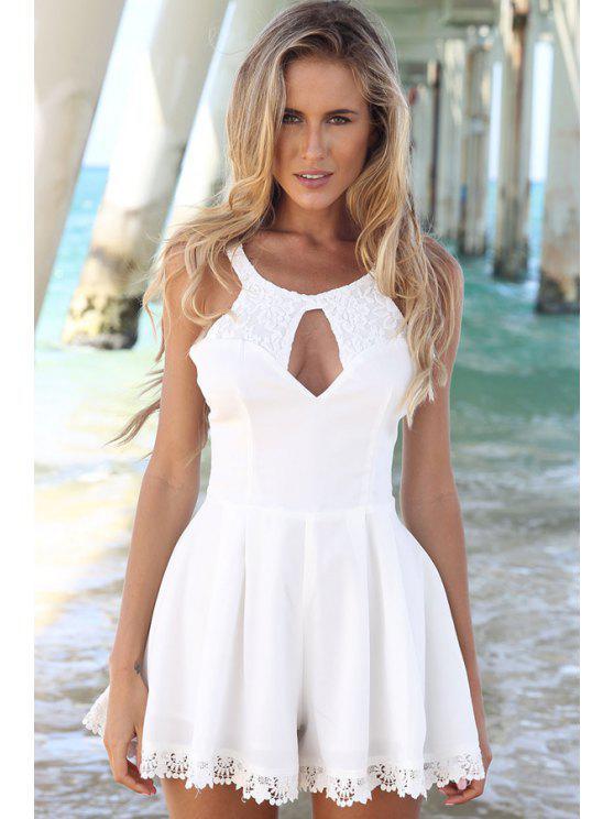 women Lace Spliced Sleeveless A-Line Dress - WHITE S