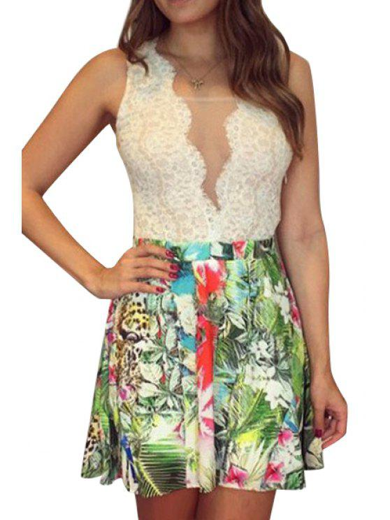 affordable Lace Splicing Floral Print Ruffle Dress - CELADON M