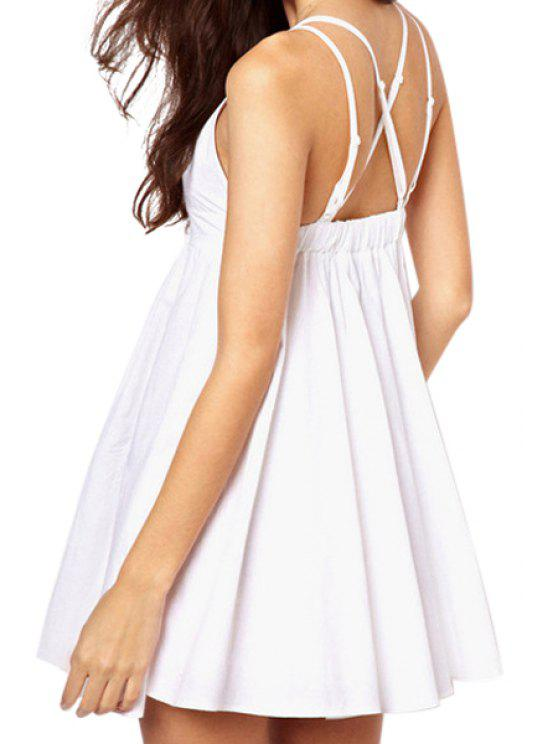 outfit Solid Color A-Line Spaghetti Straps Dress - WHITE M