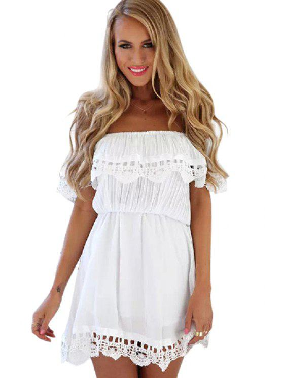 ladies Ruffles Lacework Hem Slash Neck Dress - WHITE L