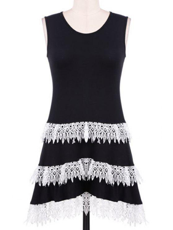shop Lacework Spliced Scoop Neck Sundress - BLACK S