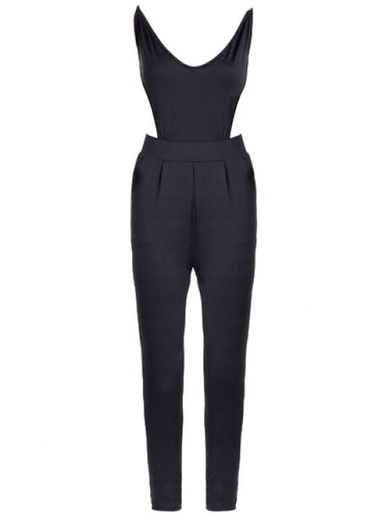new Black Backless Spaghetti Straps Jumpsuit - BLACK S