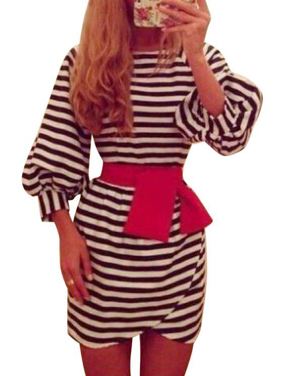 shop Stripe Pink Bowknot Long Sleeve Dress - WHITE AND BLACK M
