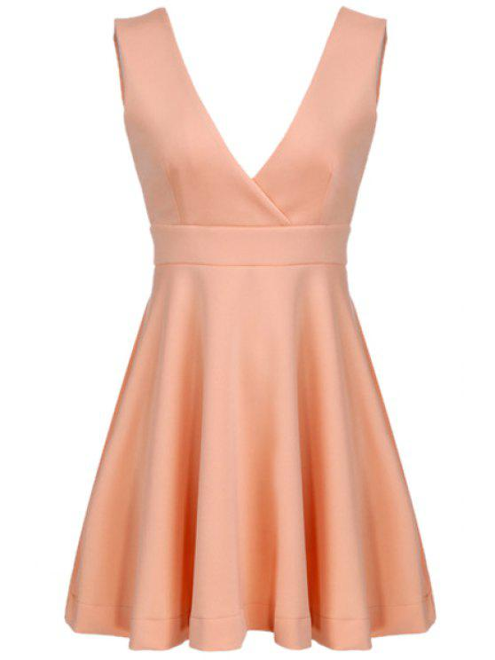shop Pink Plunging Neck Sleeveless Dress - PINK L