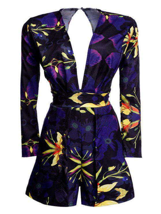 outfit Floral Print Backless Long Sleeve Romper - BLACK S