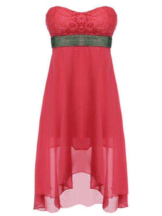 unique Strapless Lace Spliced Dress - RED L