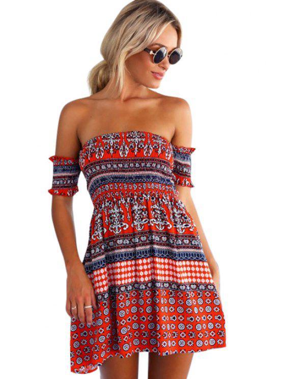 affordable Red Ethnic Print Slash Neck Dress - RED S