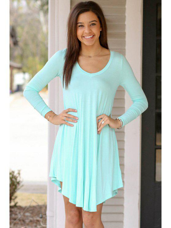 fancy Solid Color Asymmetrical Long Sleeve Dress - LIGHT BLUE S