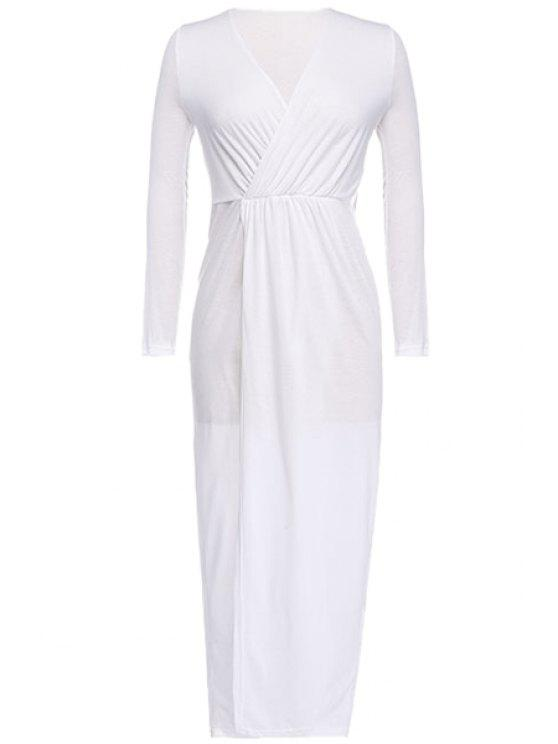 shops White Plunging Neck Maxi Dress - WHITE S