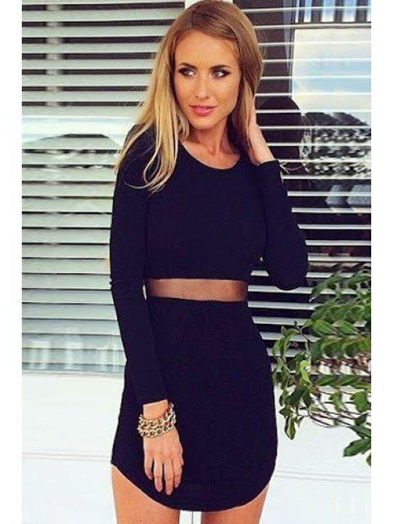affordable Solid Color Voile Splicing Long Sleeve Dress - BLACK S