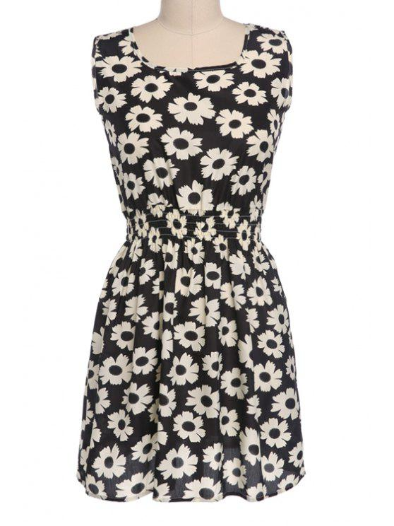 best Floral Print Elastic Waist Sleeveless Dress - BLACK S