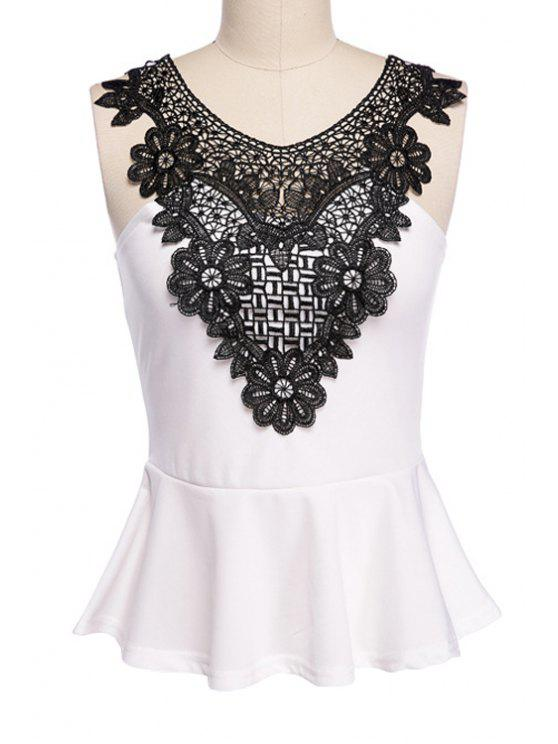 ladies Scoop Neck Lace Splicing Tank Top - WHITE AND BLACK XL