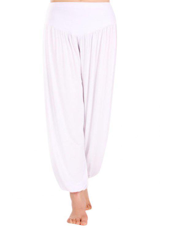 shops Solid Color Ruffle Elastic Waist  Pants - WHITE M