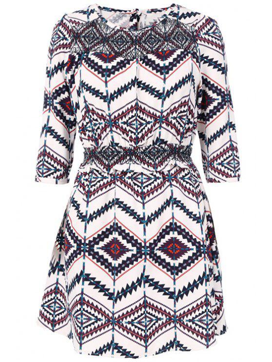 shop Ethnic Print Half Sleeve Dress - COLORMIX S
