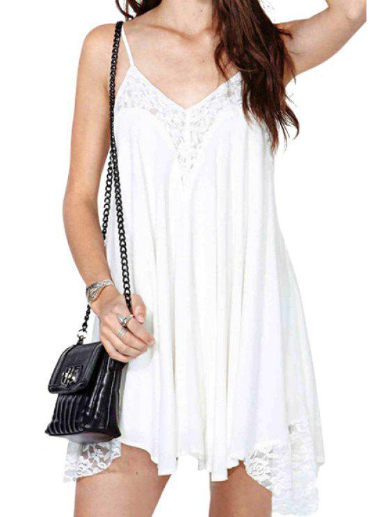 lady Spaghetti Straps Lace Spliced Dress - WHITE M