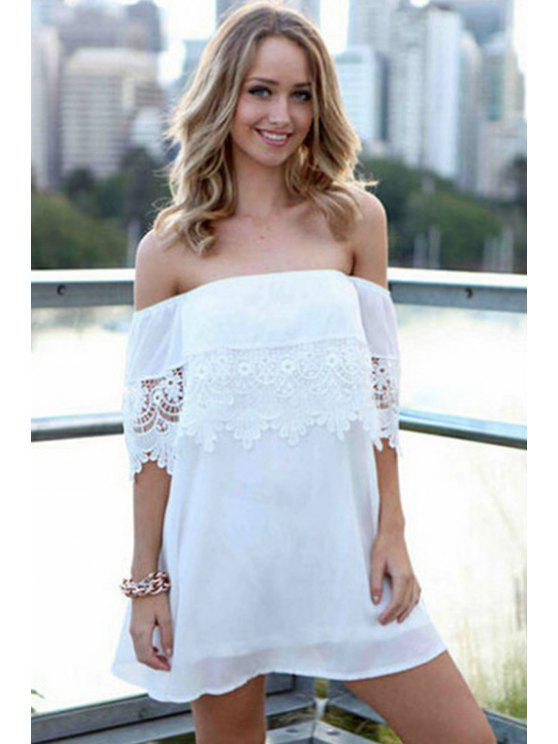 hot Slash Neck Lace Splicing Solid Color Dress - WHITE ONE SIZE(FIT SIZE XS TO M)