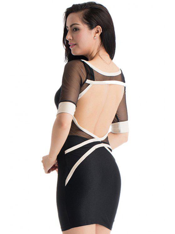 ladies Voile Spliced Half Sleeve Bodycon Dress - BLACK S