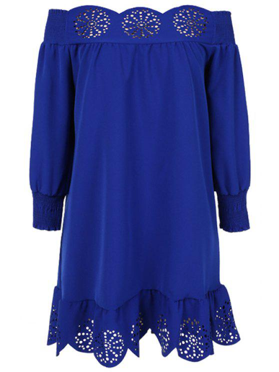 womens Slash Neck Solid Color Openwork Ruffle Dress - DEEP BLUE M