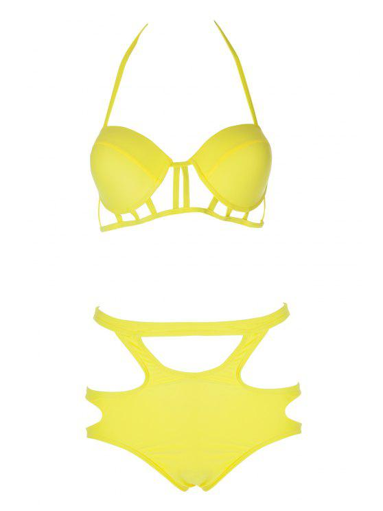 Caged High Rise Cut Out Bikini Set - Amarelo M