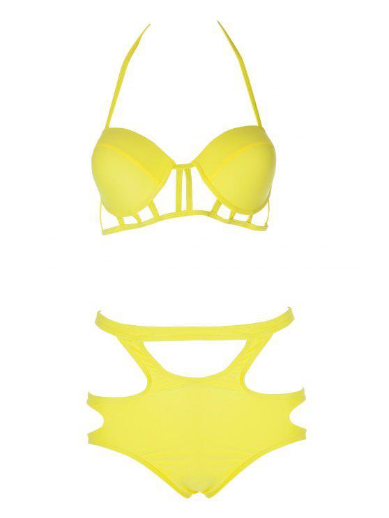 fancy Caged High Rise Cut Out Bikini Set - YELLOW XL