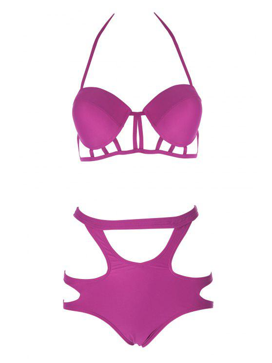 women's Caged High Rise Cut Out Bikini Set - PLUM L