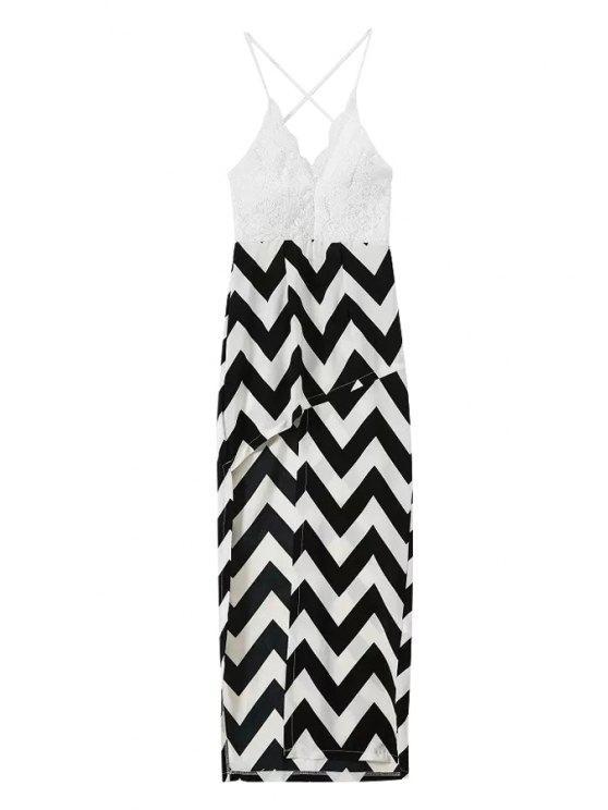 ladies Spaghetti Straps Lace Stripes Spliced Dress - WHITE AND BLACK S