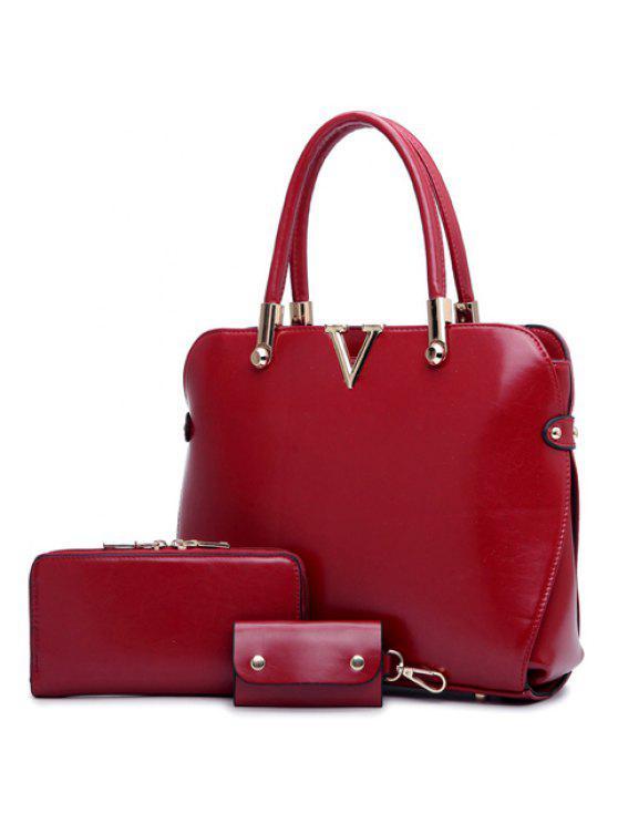 V حقيبة توتس أنيقة بلون الصلبة وتصميم حرف - نبيذ أحمر
