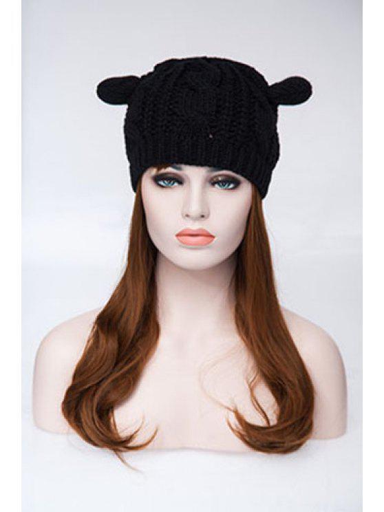 محبوك القنب الزهور آذان القط الاكريليك قبعة - أسود مقاس واحد