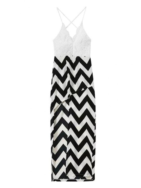 ladies Spaghetti Straps Lace Stripes Spliced Dress - WHITE AND BLACK S