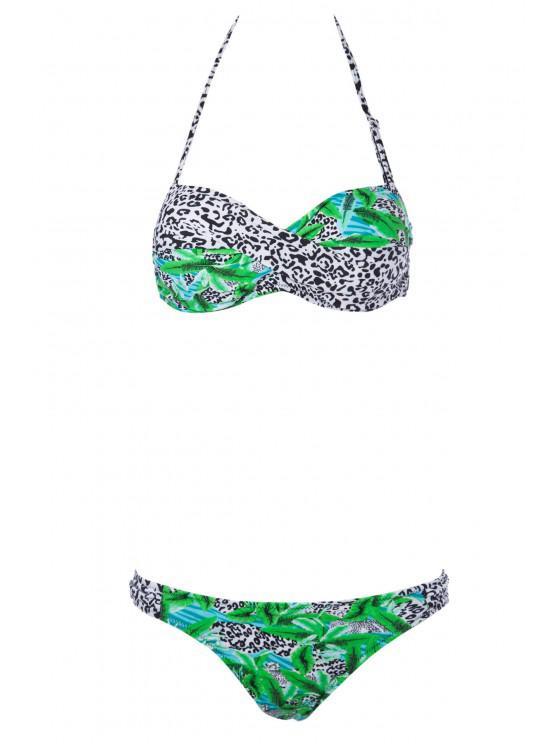 Color Block Leopard Print Bikini Set - أخضر M