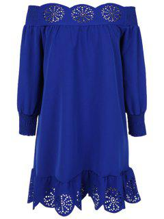 Slash Neck Solid Color Openwork Ruffle Dress - Deep Blue M