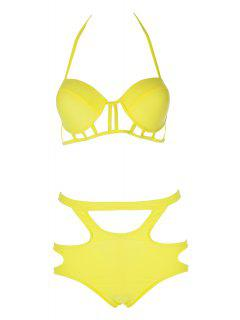 Caged High Rise Cut Out Bikini Set - Yellow Xl
