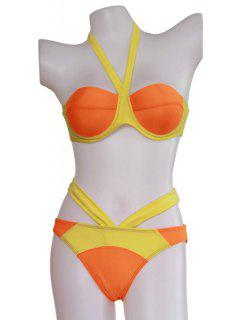 Tie-Up Color Block Bandage Bikini Set - Orange L