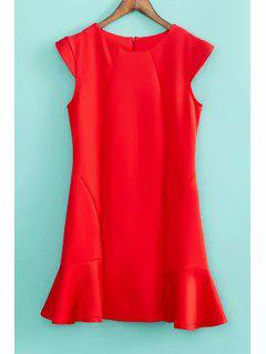 Solid Color Ruffles Splicing Dress - Red M