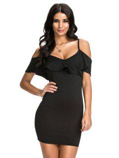 Ruffled Spaghetti Straps Bodycon Dress - Black S
