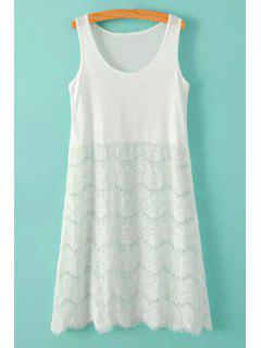 Lace Splicing Solid Color Sundress - White