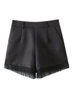 Solid Color Fringe Splicing Shorts - Black S