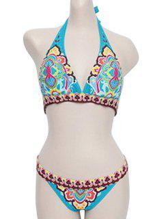 Blue Ethnic Print Halter Bikini Set - Blue M