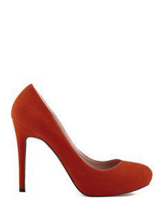 Stiletto Heel Suede Solid Color Pumps - Orange 38