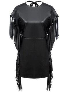 Fringe PU Leather Short Sleeve Dress - Black S