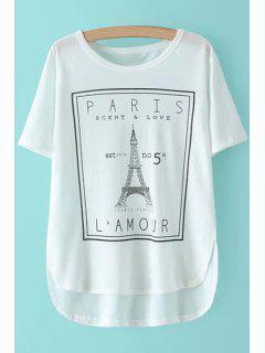 Eiffel Tower Print Short Sleeve T-Shirt - White