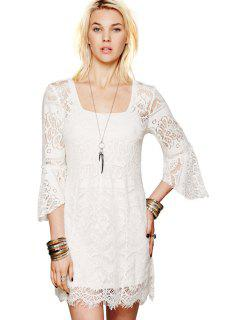 Solid Color Lace 3/4 Sleeves Dress - White M
