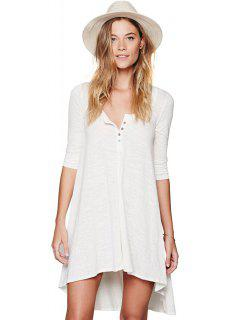 Half Sleeves Solid Color Dress - White S