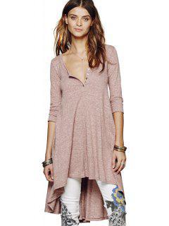 Half Sleeves Solid Color Dress - Pink L