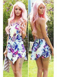 Floral Print Backless Asymmetrical Dress - S