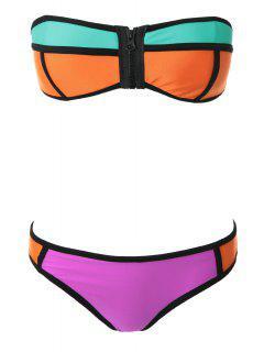 Color Block Zipper Bikini - Jacinth L