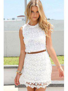 Floral Pattern Lace Sleeveless Dress - White M
