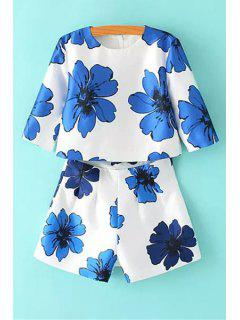 Floral Print Blouse And Shorts Suit - Blue And White L