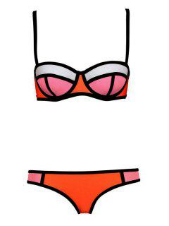 Color Block Plaid Bikini Set - Jacinth Xl